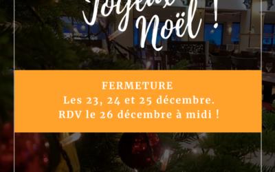 Fêtes de Noël 2019 : Fermeture